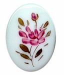 205R 40x30mm glass handpainted flower cameo,