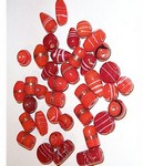 233q Handmade Glass Bead Mix orange/red