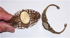 Antique Bronze Filigree Bracelet with 25x18 Bezel 534x