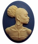 African American Black Woman Resin Cameo Blue and Ivory 545x