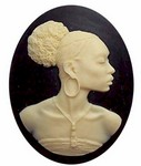 40x30mm African American Cameo Black Woman Resin Cameo Black and Ivory 547x
