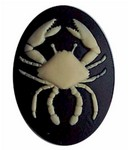 40x30 Resin Zodiac  Cancer Cameo the Crab Black and Ivory 553x