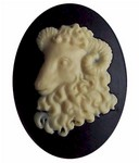 40x30 Resin Zodiac Aries Cameo the Ram Black and Ivory
