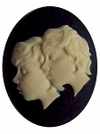 40x30 Resin Zodiac Gemini Cameo the twins Black and Ivory 558x