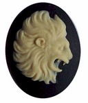 40x30 Resin Zodiac  Leo Cameo the Lion Black and Ivory 560x