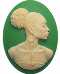 40x30 African American Cameo Ethnic Cameo Resin Green and Crème 568x