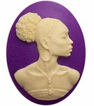 African American Cameo Ethnic Cameo Resin Purple and Crème 569x
