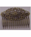 Antique Bronze Filigree Hair Comb 78x35mm 629x
