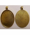 Antique Gold 40x30 Pendant Solid Edge Setting with Bail 631x