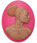 40x30mm Crimson Red African American Resin Cameo 717x
