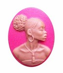 25x18mm Crimson Red Brown African American Resin Cameo 722x