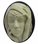 40x30mm Zombie Girl Black and Ivory Resin Cameo 736x