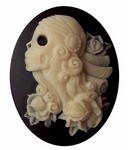 40x30 Lolita Skull Cameo Black and Ivory Resin Cameo 740x