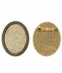 40x30mm Antique Gold Brooch Setting with Pin 743x
