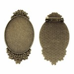 40x30mm Antique Bronze Cameo Cabochon Setting with Pin Back 813x