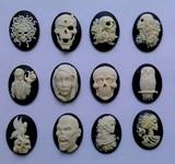 40x30mm  Set of 1 Dozen Zombie Walking Dead Goth Style Black and Ivory Resin Cameos 818x