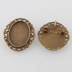 25x18mm Antique Bronze Brooch Cameo Setting with Pendant Bail 827x