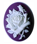 40x30mm Purple White Rose Resin Cameo 870x