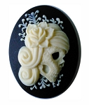 40x30mm Black Ivory Zombie Resin Cameo Gothic Skull 871x