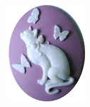 40x30mm Lavender and White Cat with Butterflies Resin Cameos 872x