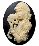 40x30mm Skull and Gothic Zombie Lolita Girl Black Ivory Resin Cameo 932x