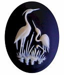 40x30mm Stork Crane Heron Bird Wildlife Water Fowl Resin Cameo 935x