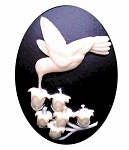 40x30mm Hummingbird Lily of the Valley Black Crème Resin Cameo Cabochon 978x