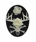 25x18mm Deer Skull with Flower Antler Tattoo Black Resin Cameo 982x