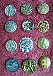 Victorian Metal Antique Buttons 12pcs. Mostly Flowers B518