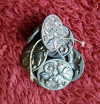 Antique Button Sewing Set 7pcs. Victorian Pewter Flowers B520