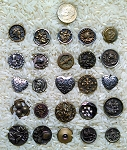 25 antique picture buttons button lot lots brass tin collectible buttons BD8
