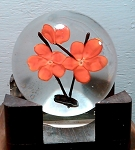 Vintage Art Glass Paperweight Red Flower