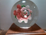 Vintage Chinese Art Glass Paperweight Frog on Pink Flower