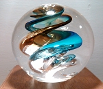 Modern Art Glass Paperweight Studio Paperweight Blue Swirl Signed