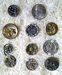 Antique Buttons Lot 10pcs. Sewing Collectable Flower Design  B505
