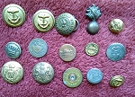 Antique Buttons Vintage Military Buttons Uniform Button B524