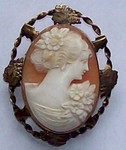 Real Shell Antique Cameo Pin Pendant F106