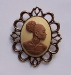 Black Woman African American Cameo Brown and Ivory  use as Brooch or Pendant F130
