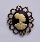 Black Woman African American Black and Ivory Cameo Brooch or Pendant F132