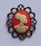 Black Woman African American Cameo Carnelian and Ivory Brooch or Pendant F134