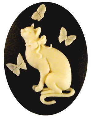 40x30mm  Resin Cat Cameo Butterfly Cabochon Black Creme 910x