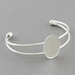 25x18mm Silver Adjustable Wire Cuff Bracelet with Bezel Setting 957x