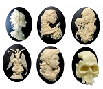 6pcs. Cabochon Lot Skull Goth Horror Spooky Halloween 40x30mm Resin Cameos