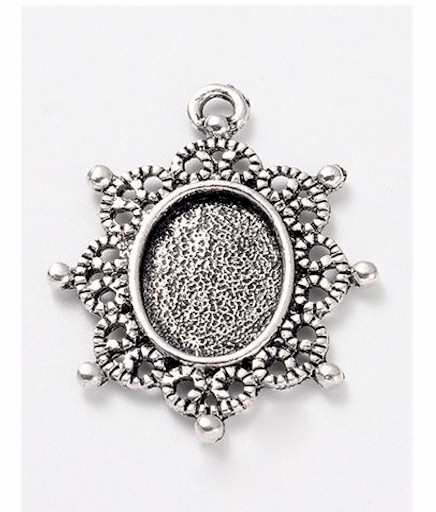 14x10mm antique silver cabochon pendant setting cameo frame 943x quick view aloadofball Gallery