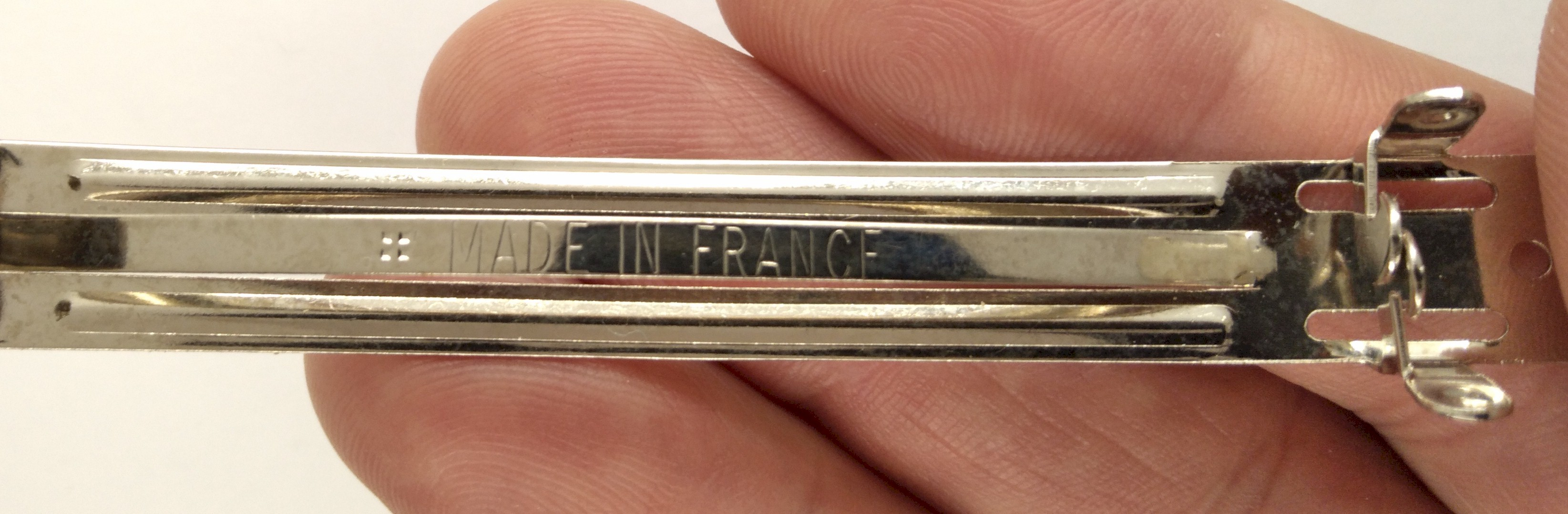 70mm 2.75inch Genuine Made in France Barrette Back stainless steel hair clip