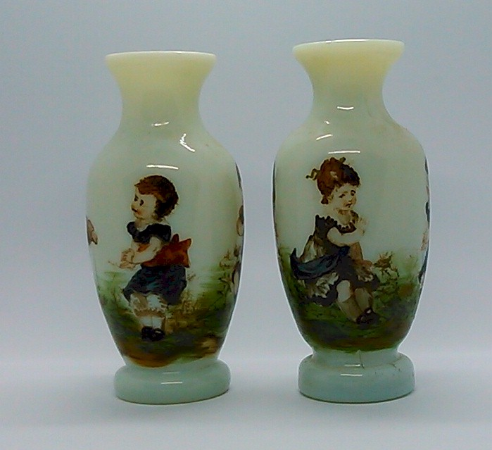 Sold Pair Of Victorian Custard Glass Vases Limoges Style