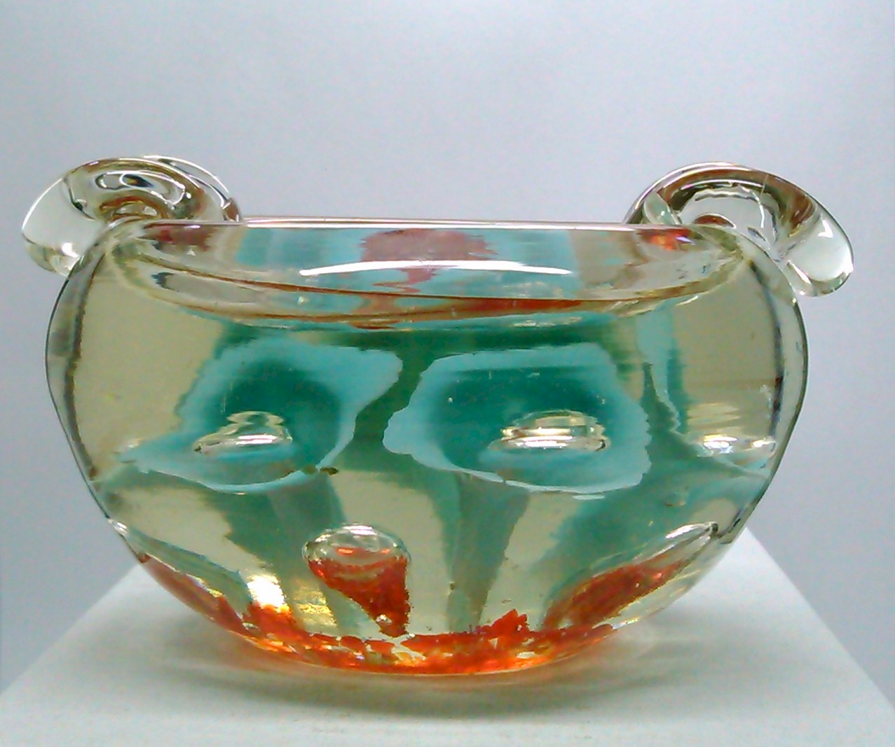 SOLD - Vintage St  Clair gibson prestige hand blown Art Glass Ashtray  Paperweight