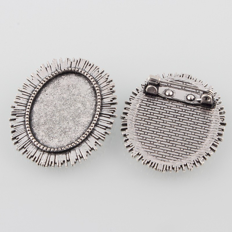 25x18mm Antique Silver Cameo Brooch Setting Frame with Pin S2035