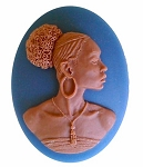40x30mm African American Black Woman Resin Cameo Blue and Brown S2069