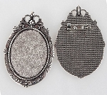 40x30mm Antique Silver Cameo Backing  Pendant and Brooch Setting with Pin  s2075